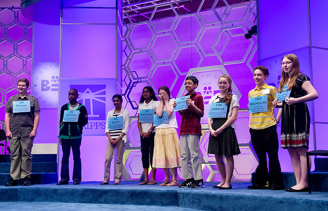 From left, spellers 30, Frank Cahill, 89 Gifton Samuel Wright, 44 Stuti Mishra, 19 Snigdha Nandipati, 213 Lena Greenberg, 162 Arvind Mahankali, 136  Jordan Hoffman, 193 Nicholas Rushlow, and 145 Emma Ciereszynski celebrate reaching the finals of the Scripps National Spelling Bee at the Gaylord National Resort and Convention Center in Oxon Hill, Md., on Thursday,  May 31, 2012. Photo by Bill Clark