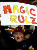 A Magic fan during the ANZ Netball Championship match between the Waikato Bay of Plenty Magic and Adelaide Thunderbirds, Mystery Creek Events Centre, Hamilton, New Zealand on Sunday 19 July 2009. Photo: Dave Lintott / lintottphoto.co.nz