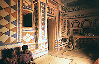 """World Civilization:  African Adobe Architecture--""""A painted interior in Central Mali recalls patterns that appear in the area's tapestries"""".  SPECTACULAR VERNACULAR.  Photo '91."""