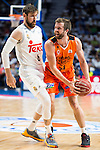 Real Madrid's player Andres Nocioni and Valencia Basket's Shurna during the first match of the Semi Finals of Liga Endesa Playoff at Barclaycard Center in Madrid. June 02. 2016. (ALTERPHOTOS/Borja B.Hojas)
