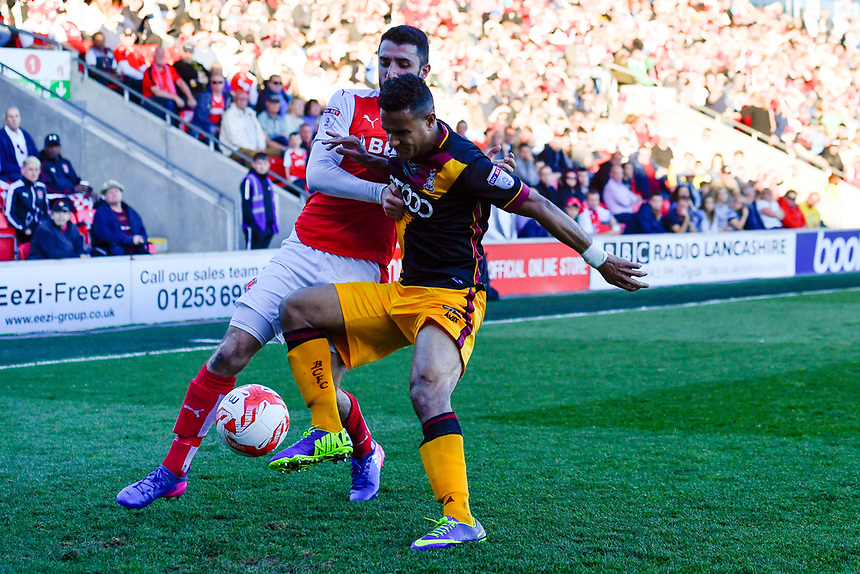 Bradford City's James Meredith battles with Fleetwood Town's Conor McLaughlin<br /> <br /> Photographer Terry Donnelly/CameraSport<br /> <br /> The EFL Sky Bet League One Play-Off Second Leg - Fleetwood Town v Bradford City - Sunday 7th May 2017 - Highbury Stadium - Fleetwood<br /> <br /> World Copyright &copy; 2017 CameraSport. All rights reserved. 43 Linden Ave. Countesthorpe. Leicester. England. LE8 5PG - Tel: +44 (0) 116 277 4147 - admin@camerasport.com - www.camerasport.com