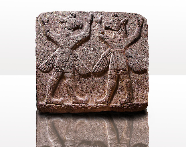 """Picture of Neo-Hittite orthostat describing the legend of Gilgamesh from Karkamis,, Turkey. Museum of Anatolian Civilisations, Ankara. Symetrical mythological Scene depicting """"Winged Griffin Demons"""", half men with birds heads & wings. Their hands are raised above their heads supposidly carrying the sky. 2"""
