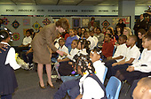 First lady Laura Bush speaks at the Patricia Roberts Harris Educational Center in Washington, DC on February 22, 2001.  Mrs. Bush visited the school to discuss an alternative teacher certificate initiative. <br /> Credit:  Ron Sachs / CNP