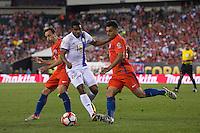 Action photo during the match Chile vs Panama, Corresponding to Group -D- America Cup Centenary 2016 at Lincoln Financial Field.<br /> <br /> Foto de accion durante el partido Chile vs Panama, Correspondiente al Grupo -D- de la Copa America Centenario 2016 en el  Lincoln Financial Field, en la foto: (i-d) Jose Pedro Fuenzalida de Chile, Ricardo Buitrago de Panama y Gonzalo Jara de Chile<br /> <br /> <br /> 14/06/2016/MEXSPORT/Osvaldo Aguilar.