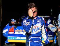 Oct. 9, 2009; Fontana, CA, USA; NASCAR Sprint Cup Series driver Kurt Busch reacts during qualifying for the Pepsi 500 at Auto Club Speedway. Mandatory Credit: Mark J. Rebilas-