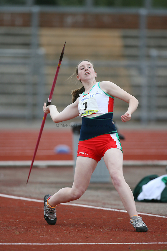 Photo: Rich Eaton...Schools International Athletic Board, Track & Field International Match, Newport. 21/07/2007. Robyn Purchase of Wales competes in the girls javelin.