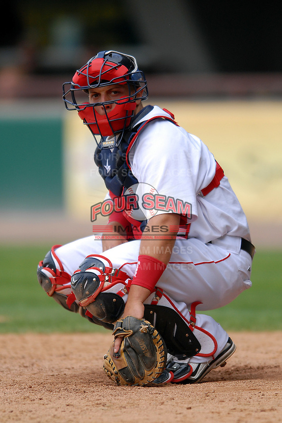 Catcher Luis Exposito #41 of the Pawtucket Red Sox during a game versus the Gwinnett Braves on May 12, 2011 at McCoy Stadium in Pawtucket, Rhode Island. Photo by Ken Babbitt /Four Seam Images