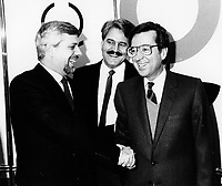 Montreal (QC) CANADA file photo - Nov 22 1985 -<br /> Pierre-Marc Johnson (PQ), Pierre Pascau, host, CKAC, Robert Bourassa (PLQ), pose for photographers before a radio debate at CKAC during the 1985 Quebec Provincial election