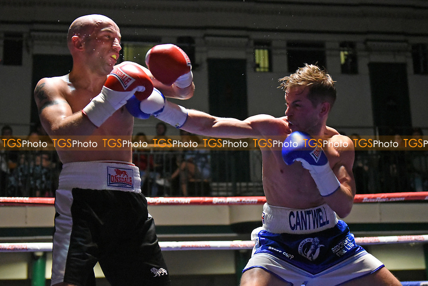 Sam Cantwell (blue shorts) defeats Gary Reeve during a Boxing Show at York Hall on 8th April 2017