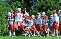 Jul 31, 2009; Flagstaff, AZ, USA; Arizona Cardinals quarterback Matt Leinart (7) throws a pass during training camp on the campus of Northern Arizona University. Mandatory Credit: Mark J. Rebilas-