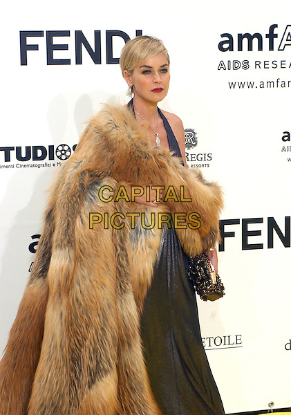 SHARON STONE.Inauguration for the amfARr's Cinema Against AIDS during the 2nd Annual Rome Film Festival, Rome, Italy, .26 October 2007..half length brown fur coat shawl wrap grey dress halterneck.CAP/CAV.©Luca Cavallari/Capital Pictures.