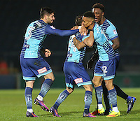 Scott Kashket of Wycombe Wanderers (2nd left) celebrates after he scores the opening goal of the game during the Sky Bet League 2 match between Wycombe Wanderers and Leyton Orient at Adams Park, High Wycombe, England on 17 December 2016. Photo by David Horn / PRiME Media Images.