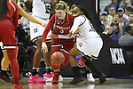 COLUMBUS, OH - MARCH 30: Sam Fuehring #3 of the Louisville Cardinals and Roshunda Johnson #11 of the Mississippi State Bulldogs fight for a loose ball during a semifinal game of the 2018 NCAA Division I Women's Basketball Final Four at Nationwide Arena in Columbus, Ohio. (Photo by Justin Tafoya/NCAA Photos via Getty Images)