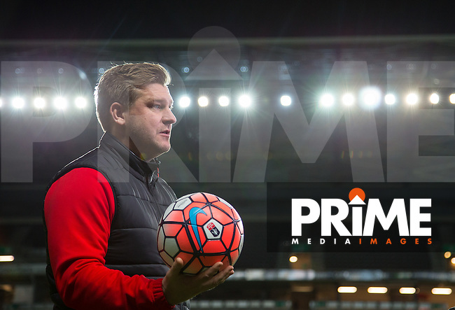 MK Dons Manager Karl Robinson gives a media interview during the MK Dons Training Sessionahead of the FA Cup fixture against Chelsea at stadium:mk, Milton Keynes, England on 28 January 2016. Photo by Andy Rowland.