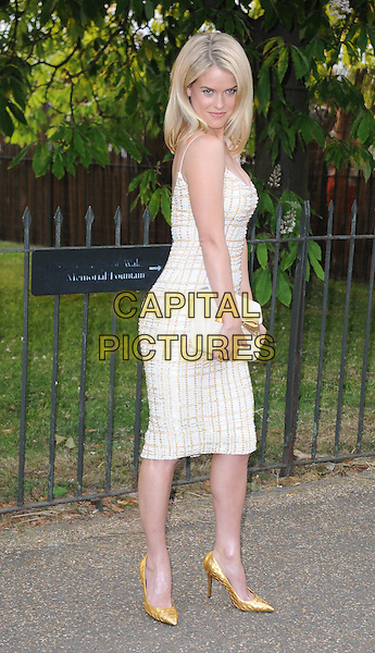 Alice Eve<br /> At the annual Serpentine Gallery Summer Party at The Serpentine Gallery, Hyde Park, London, UK, June 26th , 2013 in London.<br /> full length tweed brown beige white checked dress clutch bag gold shoes <br /> CAP/DS<br /> &copy;Dudley Smith/Capital Pictures