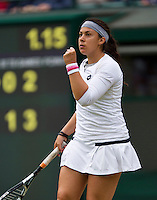 02-07-13, England, London,  AELTC, Wimbledon, Tennis, Wimbledon 2013, Day eight, Marion Bartoli (FRA)<br /> <br /> <br /> <br /> Photo: Henk Koster