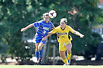 30 August 2013: Duke's Christina Gibbons (31) and Kennesaw State's Danielle Gray (21). The Duke University Blue Devils played the Kennesaw State University Owls at Fetzer Field in Chapel Hill, NC in a 2013 NCAA Division I Women's Soccer match. Duke won 1-0.