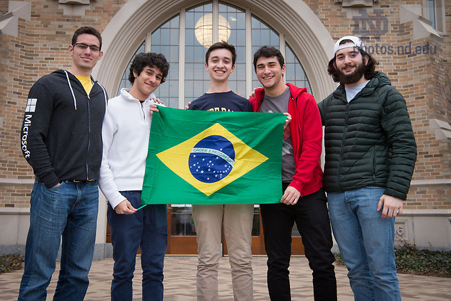 March 9, 2017; Pedro Navarro '20 (center) international student from Brazil, poses for a photo with fellow Brazilian undergraduates. (Photo by Matt Cashore/University of Notre Dame)