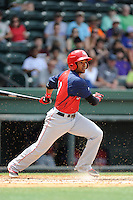 Second baseman Osvaldo Abreu (10) of the Hagerstown Suns, in a game against the Greenville Drive on May 12, 2015, at Fluor Field at the West End in Greenville, South Carolina. Greenville won, 4-0. (Tom Priddy/Four Seam Images)