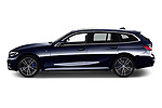 Car Driver side profile view of a 2020 BMW 3-Series M-Sport 5 Door Wagon Side View