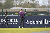 Victor Perez (FRA) on the 17th tee during Round 4 of the Alfred Dunhill Links Championship 2019 at St. Andrews Golf CLub, Fife, Scotland. 29/09/2019.<br /> Picture Thos Caffrey / Golffile.ie<br /> <br /> All photo usage must carry mandatory copyright credit (© Golffile | Thos Caffrey)
