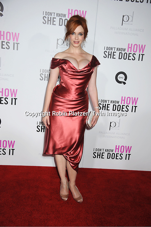 "Christina Hendricks attending the premiere of "" I Don't Know How She Does It"" on September 12, 2011 at The Loews Lincoln Square in New York City"