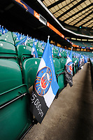A general view of Bath Rugby flags. The Clash, Aviva Premiership match, between Bath Rugby and Leicester Tigers on April 7, 2018 at Twickenham Stadium in London, England. Photo by: Patrick Khachfe / Onside Images