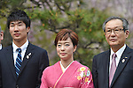 (L-R) Yoshihide Kiryu, Kasumi Ishikawa, Motoi Oyama, <br /> APRIL 6, 2015 : <br /> Asics has Press conference in Tokyo. <br /> Asics announced that it has entered into a partnership agreement with the Tokyo Organising Committee of the Olympic and Paralympic Games. With this agreement, Asics becomes the gold partner. <br /> (Photo by AFLO SPORT)