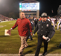 NWA Media/Michael Woods --11/01/2014-- w @NWAMICHAELW... Arkansas coach Bret Bielema walks off the field following the Razorbacks 17-10 loss after Saturday nights game against Mississippi State at Davis Wade Stadium in Starkville, Mississippi.