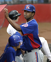July 31, 2004:  Edgardo Baez of the Vermont Expos during a game at Russell Diethrick Park in Jamestown, NY.  Vermont is the Short Season Single-A NY-Penn League affiliate of the Montreal Expos (Washington Nationals).  Photo By Mike Janes/Four Seam Images