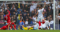 Nottingham Forest's Lewis Grabban (7) celebrates scoring the equalising goal <br /> <br /> Photographer Alex Dodd/CameraSport<br /> <br /> The EFL Sky Bet Championship - Leeds United v Nottingham Forest - Saturday 10th August 2019 - Elland Road - Leeds<br /> <br /> World Copyright © 2019 CameraSport. All rights reserved. 43 Linden Ave. Countesthorpe. Leicester. England. LE8 5PG - Tel: +44 (0) 116 277 4147 - admin@camerasport.com - www.camerasport.com