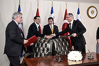 Pictured: Alexis Tsipras (2nd L) and his Turkish counterpart Ahmet Davutoglou (3rd L) Tuesday 08 March 2016<br /> Re: The Prime Ministers of Turkey Ahmet Davutoglu and Greece Alexis Tsipras have met in Smyrna, Turkey to discuss ways to enhance their cooperation as both countries are grappling with an influx of migrants,
