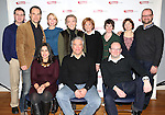 Front Row: Michelle Bossy, Casey Childs, Andrew Leynse, Second Row: Elliot Fox, Jonathan Walker, Julie Halston, Charles Busch, Cynthia Harris, Keira Keeley, Mary Bacon and Carl Andress attending the Meet & Greet for the Primary Stages production of 'The Tribute Artist' at their rehearsal studios  on January 7, 2014 in New York City.