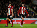 John Egan of Sheffield Utd and Oliver Norwood of Sheffield Utd during the Premier League match at Bramall Lane, Sheffield. Picture date: 10th January 2020. Picture credit should read: Simon Bellis/Sportimage