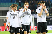 Deutsche Mannschaft bedankt sich bei den Fans, Thomas Mueller (Deutschland Germany), Leon Goretzka (Deutschland Germany), Niklas Süle (Deutschland Germany) - 15.11.2018: Deutschland vs. Russland, Red Bull Arena Leipzig, Freundschaftsspiel DISCLAIMER: DFB regulations prohibit any use of photographs as image sequences and/or quasi-video.