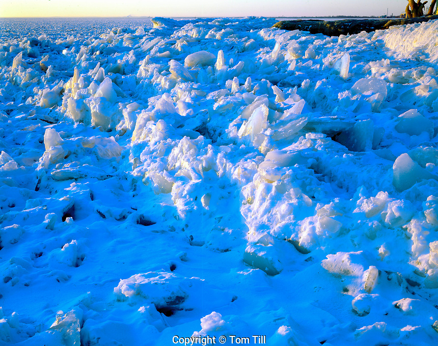 Ice in winter at Lake Erie , Marblehead , Ohio, Lake Erie south coast Historic lighthouse dating from 1821