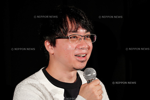 Director Makoto Shinkai answers questions from the audience during a stage greeting for the animated movie Your Name at Toho Cinemas in Roppongi Hills on October 27, 2016, Tokyo, Japan. The anime movie has topped the Japanese box office for 9 weeks running already generating over US$157 million and is now the 9th highest earning film ever released in Japan. The RADWIMPS soundtrack for the film has also topped Japan's music charts. Your Name will be released internationally in November 2016. The screening is part of the 29th Tokyo International Film Festival which is one of the biggest film festivals in Asia. TIFF runs from October 25 until November 3. (Photo by Rodrigo Reyes Marin/AFLO)