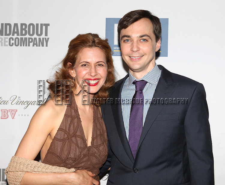 """Jessica Hecht & Jim Parsons.pictured at the Opening Night After Party for the Roundabout Theatre Company's Broadway Production of  """"Harvey"""" at Studio 54 New York City June 14, 2012"""