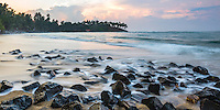Panoramic photo of sunrise at Mirissa Beach, South Coast of Sri Lanka, Asia. This is a panoramic photo of sunrise Mirissa Beach, Sri Lanka, Asia. Mirissa Beach is a popular sandy beach on the South Coast of Sri Lanka.