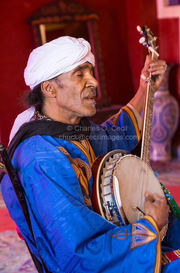 Ouarzazate, Morocco.  Amazigh Berber Banjo Player.