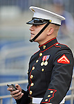 20 September 2012: A Member of the United States Marine Color Guard awaits his appearance prior to a game between the Washington Nationals and the Los Angeles Dodgers at Nationals Park in Washington, DC. The Nationals defeated the Dodgers 4-1, clinching a playoff birth: the first time for a Washington franchise since 1933. Mandatory Credit: Ed Wolfstein Photo