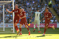 Liverpool's James Milner celebrates scoring his side's second goal with team-mate Jordan Henderson<br /> <br /> Photographer Ian Cook/CameraSport<br /> <br /> The Premier League - Cardiff City v Liverpool - Sunday 21st April 2019 - Cardiff City Stadium - Cardiff<br /> <br /> World Copyright © 2019 CameraSport. All rights reserved. 43 Linden Ave. Countesthorpe. Leicester. England. LE8 5PG - Tel: +44 (0) 116 277 4147 - admin@camerasport.com - www.camerasport.com