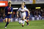 UEFA Women's Champions League 2017/2018.<br /> Quarter Finals.<br /> FC Barcelona vs Olympique Lyonnais: 0-1.<br /> Maria Leon vs Eugenie Le Sommer.