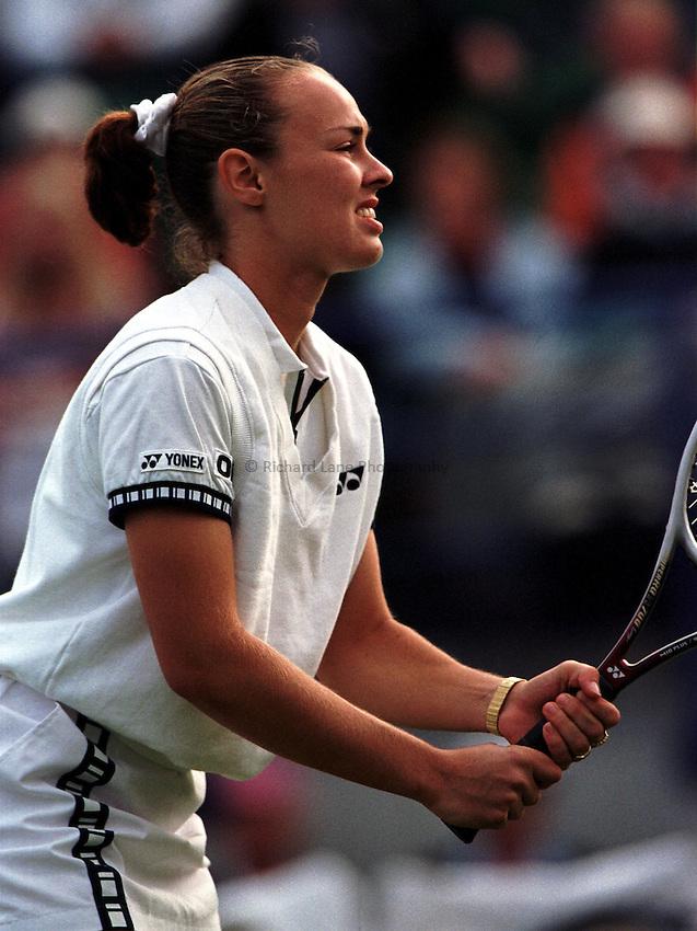 Photo. Richard Lane. .International Ladies Tennis, Eastbourne. 19/6/99..Martina Hingis..