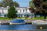 Henley on Thames. United Kingdom.   View of the Phyllis Court Club,  Patio,  Bar Restaurant.  Thursday  17/05/2018<br /> <br /> [Mandatory Credit: Peter SPURRIER:Intersport Images]<br /> <br /> LEICA CAMERA AG  LEICA Q (Typ 116)  f5  1/1000sec  35mm  42.5MB
