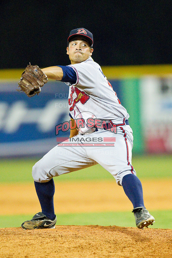 Danville Braves relief pitcher Bryam Garcia (15) in action against the Burlington Royals at Burlington Athletic Park on July 18, 2012 in Burlington, North Carolina.  The Royals defeated the Braves 4-3 in 11 innings.  (Brian Westerholt/Four Seam Images)