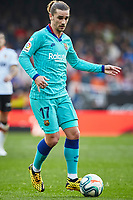 25th January 2020; Mestalla, Valencia, Spain; La Liga Football,Valencia versus Barcelona; Antoine Griezmann of FCB brings the ball forward