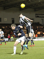 Jack Baird beats Aaaron Muirhead in the air in the St Mirren v Falkirk Scottish Professional Football League Ladbrokes Championship match played at the Paisley 2021 Stadium, Paisley on 1.3.16.