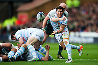 Maxime Machenaud of Racing 92 passes the ball. European Rugby Champions Cup semi final, between Leicester Tigers and Racing 92 on April 24, 2016 at The City Ground in Nottingham, England. Photo by: Patrick Khachfe / JMP