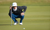 Thorbjorn Olesen of Denmark lines up a putt during Round 3 of the 2015 Alfred Dunhill Links Championship at the Old Course, St Andrews, in Fife, Scotland on 3/10/15.<br /> Picture: Richard Martin-Roberts | Golffile